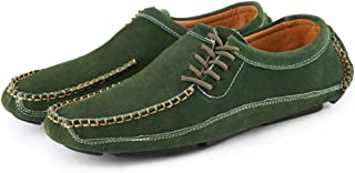 Casual shoes. Men's Driving Loafer Round Toe Flat Heel Solid Color Splice Vamp Slip on Shoes (Color : Green, Size : 47 EU)