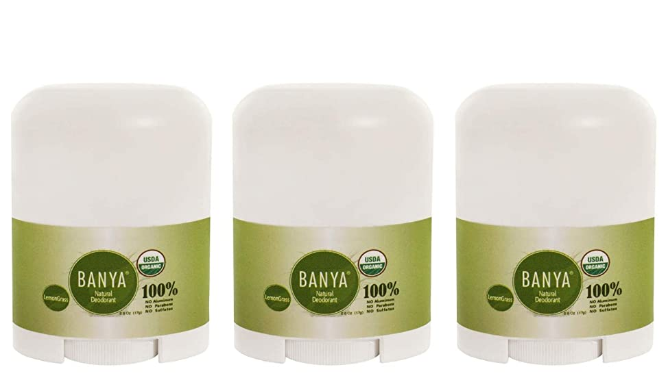 Banya Naturals Organic Lemongrass Deodorant Stick 0.6 Oz Travel Size (Pack of 3)