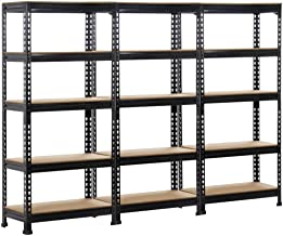 Topeakmart 3 Pack Heavy Duty 5 Tier Commercial Industrial Racking Garage Shelving Unit Adjustable Display Stand,59.1 inch Height