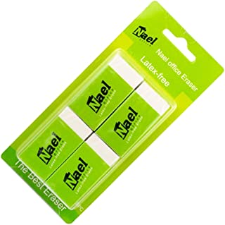 Eraser by Nael Office-White Vinyl -Rectangular Shape-With Minimal Crumbling And Absence of Discoloration By the Smudge-Can be used by all Professions-Teachers-Artists-Students And Engineers-4 count