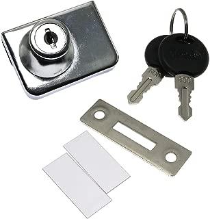 RLECS Door Double Glass Lock with Keyed Alike,Cabinet Display Showcase Glass Door Push Locks Zinc Alloy Furniture Hardware Fittings