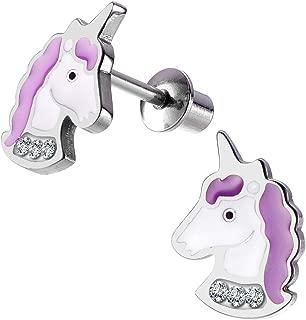 Unicorn Stud Hypoallergenic Earrings Pink Purple with Secure Screwback for Kids, Toddlers, Little Girls, Baby Girls, Stainless Steel Ultra Sensitive Screw Back Post Earrings