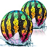 2 Pieces Watermelon Pool Ball Swimming Pool Ball, 6.5 Inch Ball Fills with Water with Hose Adapter for Underwater Passing Dribbling Diving Water Pool Games for Teens Adults (Watermelon)