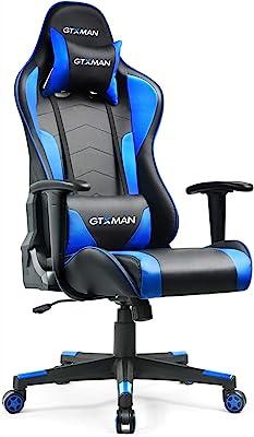 GTXMAN ゲーミングチェア リクライニング オフィスチェア 安定の肘掛付き ゲーム用 椅子 一年無償部品交換保証 (X188-BLUE)