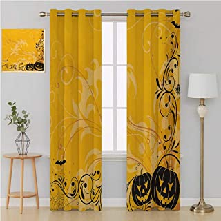 Halloween Gromit Curtains Blackout Draperies for Bedroom,Carved Pumpkins with Floral Patterns Bats and Web Horror Jack o Lantern Artwork Curtain Holdback 108 by 84 Inch Orange Black