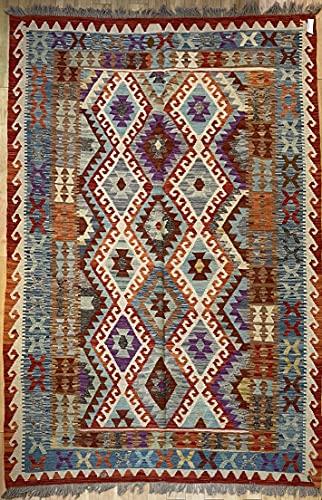 Alfombra oriental afgana, hecha a mano, de lana, colores naturales, estilo afgano, nómada turco, persa, tradicional, 171 x 249 cm, estilo vintage, pasillo y escalera, reversible