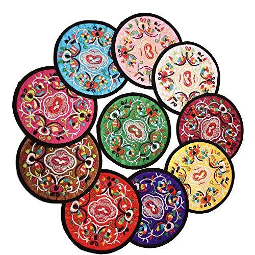 XJF Mantel individual de 4 piezas de color al azar, tapete de mesa de aislamiento de tela de bordado chino, soporte de taza de almohadilla anticalor