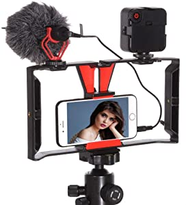 Runshuangyu Smartphone Video Rig Mount Cage Hand Grip Stabilizer & Mini 49 LED Light & On-Camera Microphone Kit for iPhone 6 6s 7 8 Plus X Xs Max XR Samsung Note 8 9 Android (4in -7in)