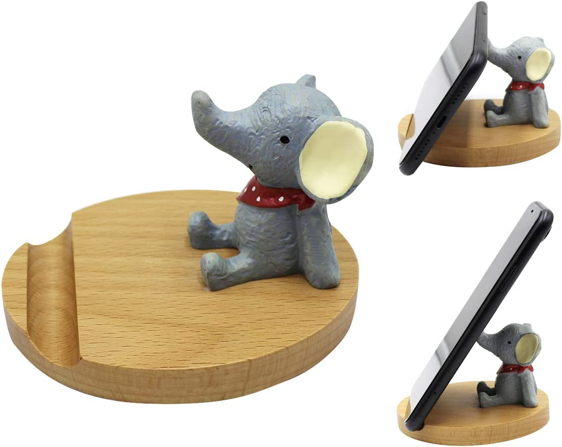 Bolley Joss Animal Cell Phone Stand Holder Bamboo Wooden Desktop Tablet Holder Wood Phone Stand Holder Home Decoration