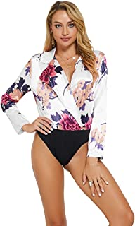 white floral printed long sleeve bodysuit