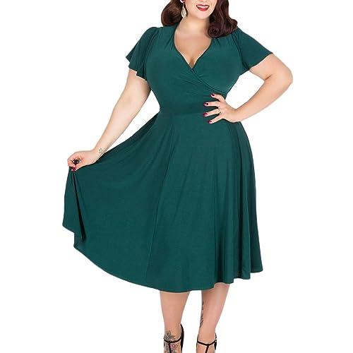 Dark Green Midi Dress: Amazon.com