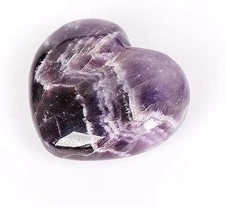 OCN-HEALING Natural Quartz Heart Amethyst Quartz Healing Gemstone Love Carved Polished Carved Palm Worry Stone Reiki Balancing