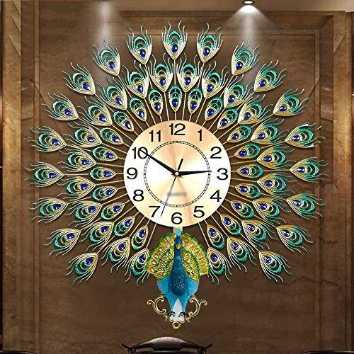 AISHANG Reloj de pared de cuarzo con diseño de pavo real, moderno decorativo para dormitorio, sala de estar, multicolor