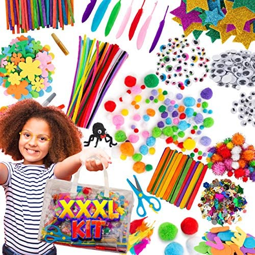 Blue Squid Arts Craft Supplies for Kids Easy Store Bag of Assorted Kids Craft Art Supply Kindergarten product image