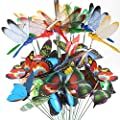 Teenitor 20pcs Butterfly Garden Stakes & 10pcs Dragonfly Stakes with Sticks Waterproof 3D Decorations Yard Ornaments Planter Flower Pot Bed Butterflies Dragonflies Christmas Decor
