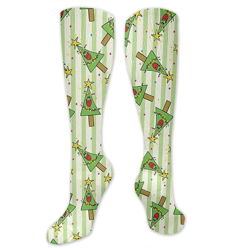 細胞虐待元に戻す靴下,ストッキング,野生のジョーカー,実際,秋の本質,冬必須,サマーウェア&RBXAA Smiling Christmas Trees Socks Women's Winter Cotton Long Tube Socks Knee High Graduated Compression Socks