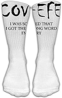 Bigtige, Calcetines clásicos de compresión Covfefe Calcetines deportivos blancos deportivos personalizados de 50cm de largo para hombres y mujeres