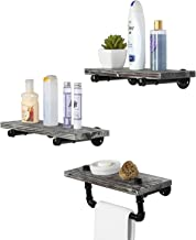 MyGift 3 Piece Set Rustic Torched Wood and Industrial Metal Pipe Floating Shelves with Towel Bar