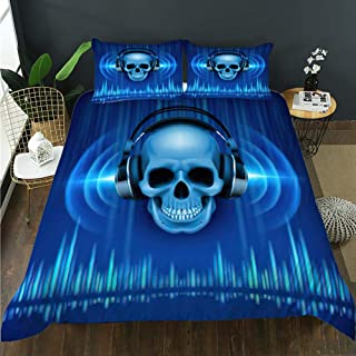 Details about  /Grunge Quilted Bedspread /& Pillow Shams Set Gothic Skull Headphones Print