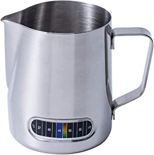 SKEIDO Milk Frothing Pitcher 600ml with Thermometer Espresso Steaming Frothing Cup, Perfect for Espresso Machines and Latt...