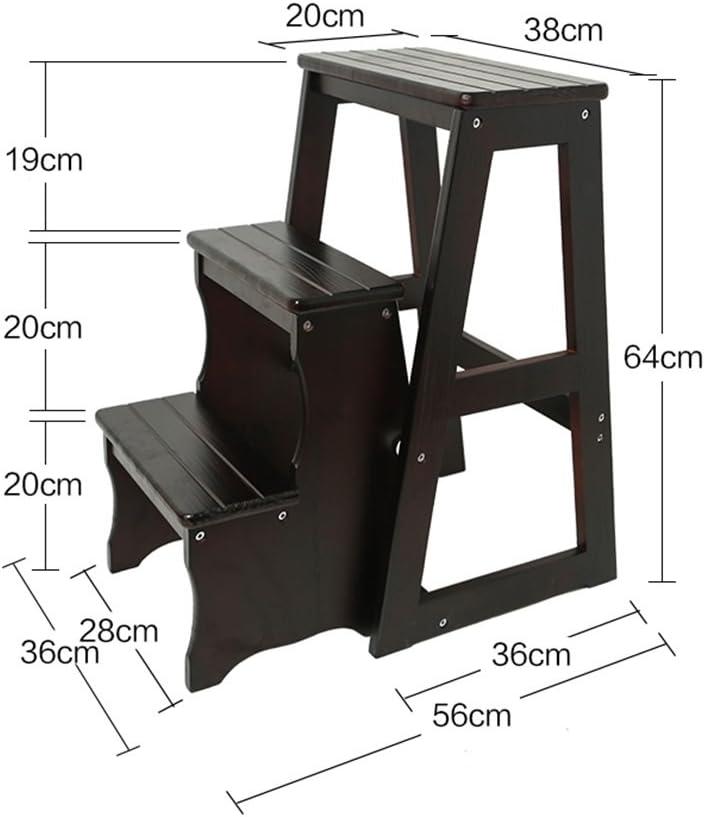 XXHDEE Le Tabouret Multifonctionnel de ménage de Tabouret en Bois Plein de Chaussures Change la Chaise Se Pliante a 3 étapes Escabeau (Color : B) A