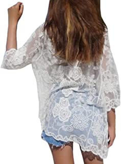 Women Pure Color Open Front Sheer Long-Sleeves Lace Crochet Thin Cardigans
