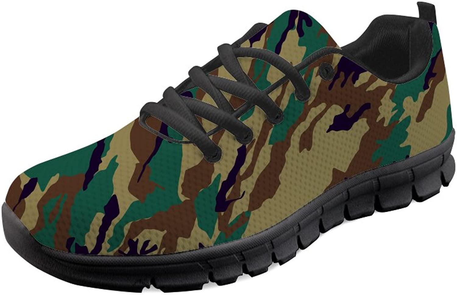 HUGS IDEA Camouflage Men's Lightweight Running shoes Lace up Mesh Sport Sneakers