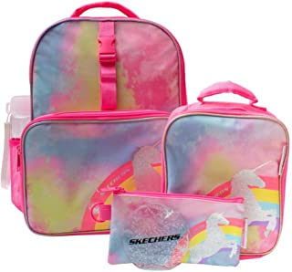 5pc Back to School Set with Lunch Bag, Water Bottle, Ice Pack, and Pencil Case (Pink Unicorn)