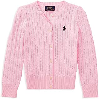 Toddlers Girls Buttoned Down Cable Knit Crew-Neck Sweater Carmel Pink