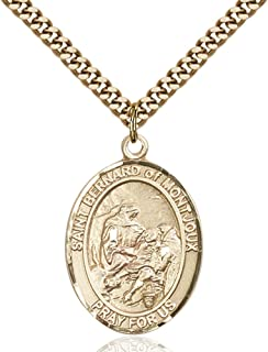 St. Bernard of Montjoux Hand-Crafted Oval Medal Pendant in 14kt Yellow Gold-Filled