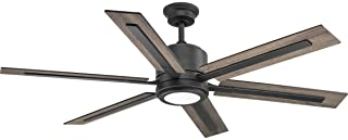 Progress Lighting P2586-7130K Protruding Mount, 6 Toasted Oak/Driftwood Blades Ceiling fan with 18 watts light, Black