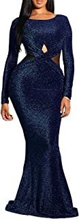Women Long Sleeve Shiny Glitter Mesh Cut Out Bodycon Flowy Mermaid Party Maxi Long Dresses