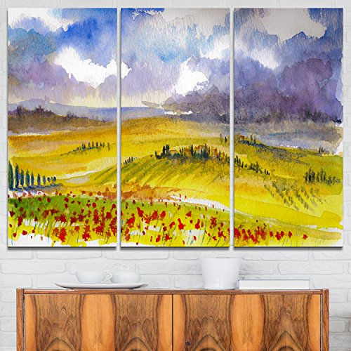 Designart Beautiful Tuscan Hills Italy-Landscape Painting Canvas Art Print-36x28in-Multipanel 3 Piece, 36x28-3 Panels, Green