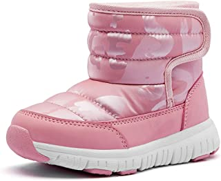 COOJOY Boys Girls Winter Snow Boots Waterproof Slip Resistant Warm Fur Lined Cold Weather Outdoor Shoes Pink,EU33 Little K...