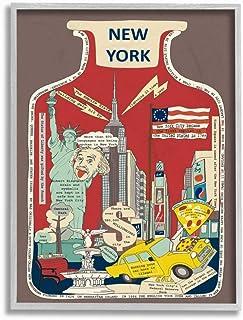 Stupell Industries Vintage Jar New York City Interesting Fun Facts Wall Art, 11 x 14, Brown