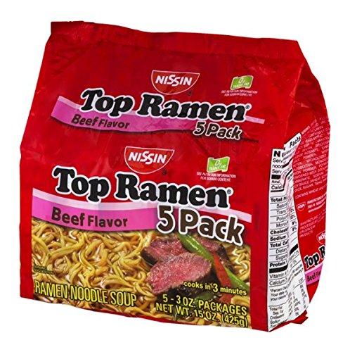 Nissin Top Ramen Beef Flavor - 5 CT