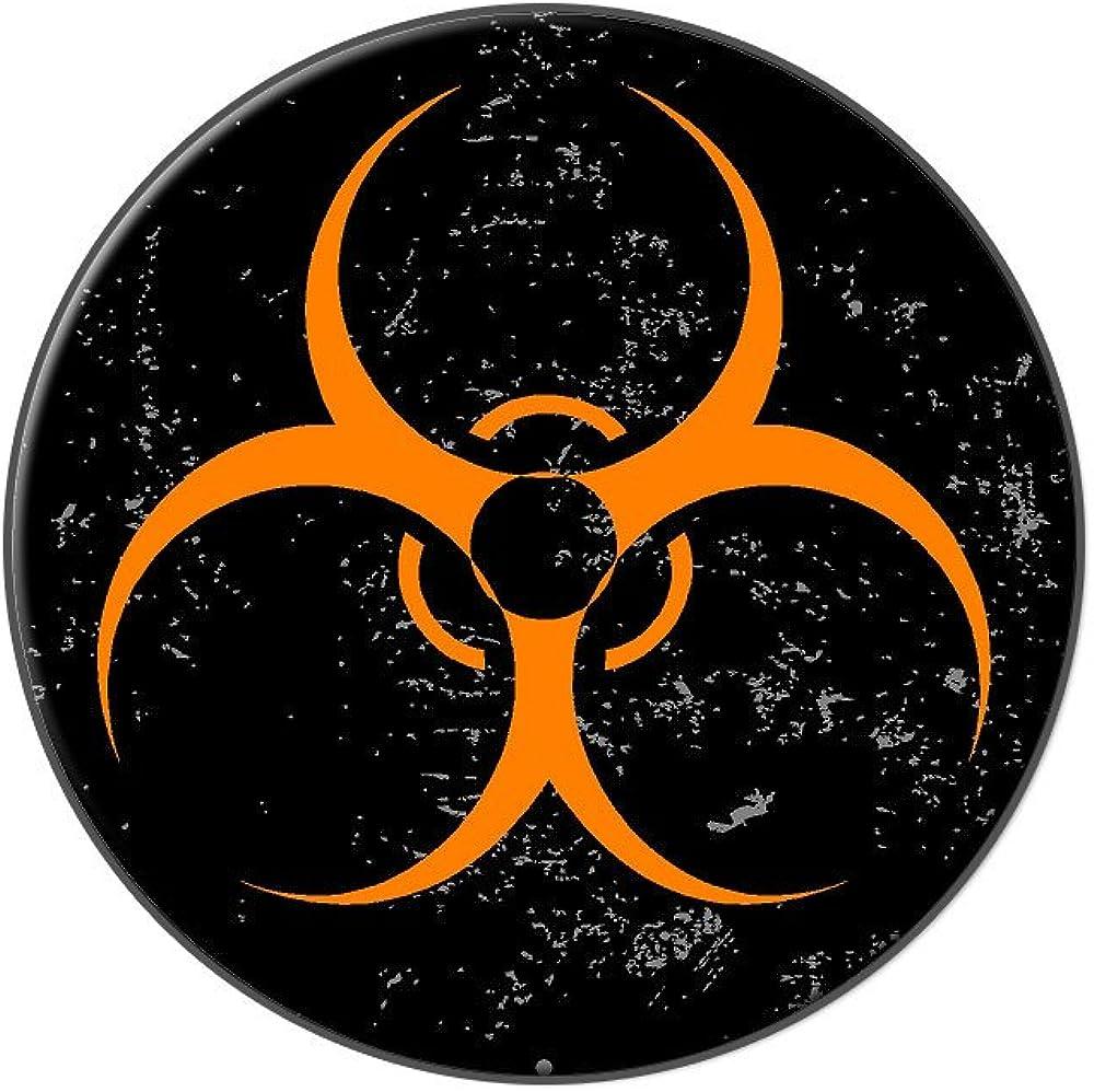 Graphics and More Biohazard Warning Symbol Orange Zombies Distressed - Tie Tack Hat Lapel Pin