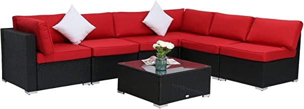Kinbor 7PC Outdoor Sectional Sofa Set Rattan Wicker Patio Home Party Furniture Sofa with Washable Cushions & Modern Coffee Table