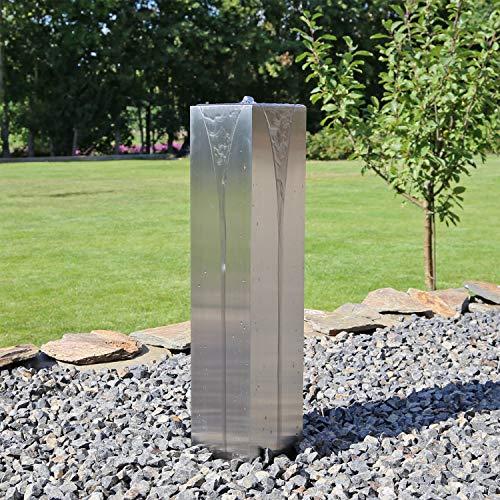 CLGarden Edelstahl Säulenbrunnen ESB7 eckig mit LED Beleuchtung Springbrunnen Säule