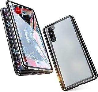 Jonwelsy 携帯電話 ケース Xiaomi Redmi Note 7 Pro/Note 7 に適し 360度 前面と背面 強化ガラス 磁気吸着 金属フレーム カバー 完全保護 耐衝撃 擦り傷防止 磁性技術 (黒)