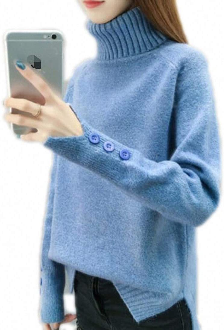 Xileg Button Turtleneck New product! New type Today's only Sweater Women Solid Autumn Spring Knitte