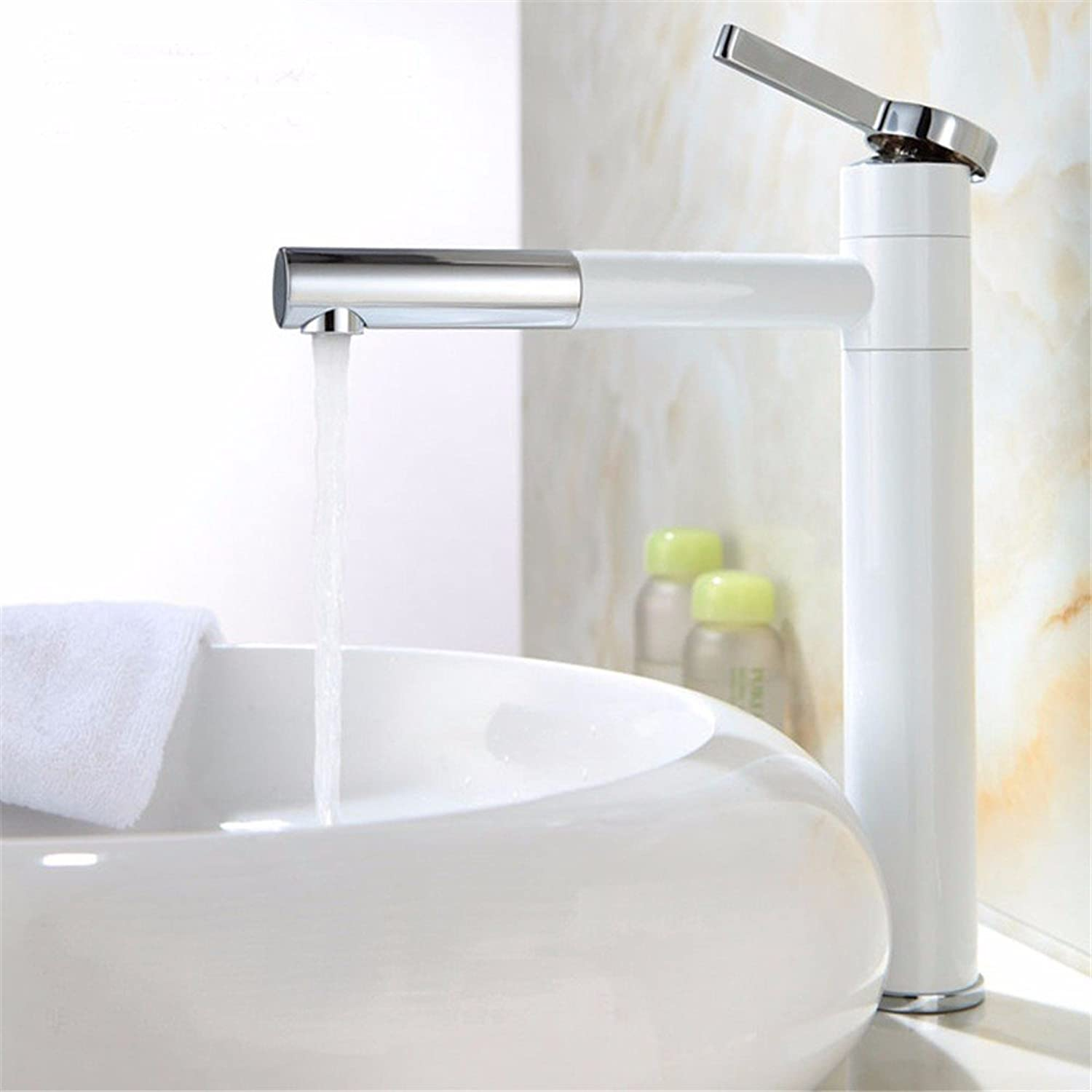 IJIAHOMIE Style of Bathroom Sink Taps, Bathroom Faucets,Waterfall Basin Sink Mixer Tap Modern White Ceramic 360 Degree redating hot and Cold Water Ceramic Valve, Highsection