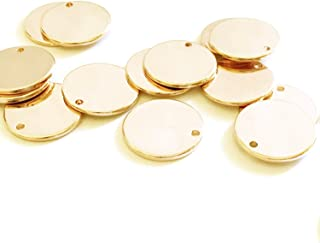 """10 Pieces - 16K Gold Plated Coin Disc Charm Round Stamping Blank Tag Metal Jewelry Making Supply Blank Initial Charm Holiday Gift .5""""x.5"""" (12x12mm) - 10PC (Gold)"""