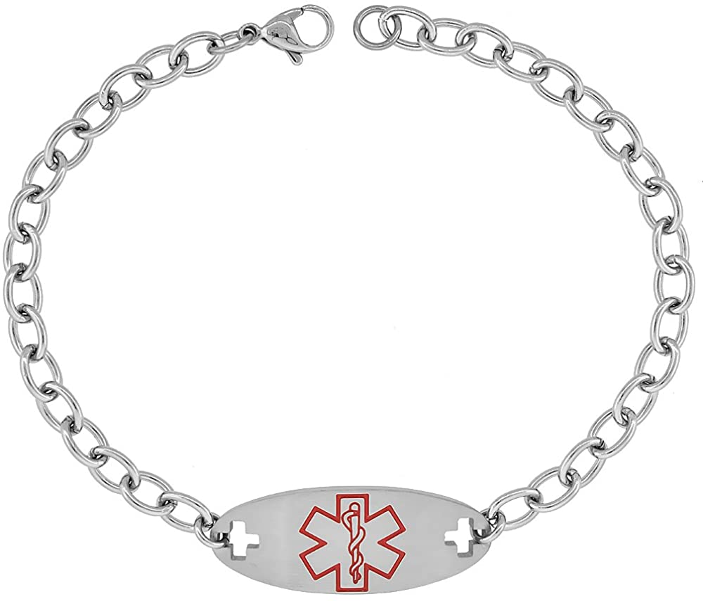 Surgical Steel San Jose Mall Medical Alert Bracelet for BRILINTA ID Wholesale 9 inch 16