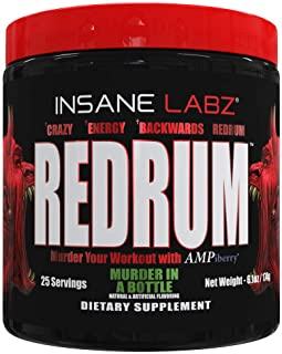 Insane Labz Redrum High Stim Pre Workout NO Booster Powder, Loaded with Beta Alanine Agmatine Sulfate Taurine Fueled by AM...