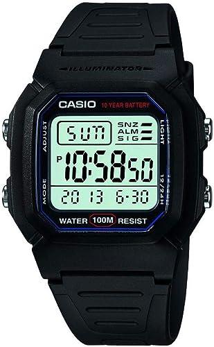 Casio - W-800H-1AVCF - Montre Homme - Quartz Digitale - Alarme/Chronomètre/Eclairage - Bracelet Caoutchouc Noir