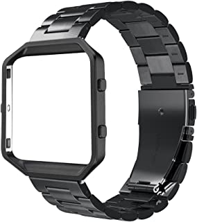 Simpeak Replacement Women Men Stainless Steel Metal Band Strap with Stailess Steel Frame for Fitbit Blaze Smartwatch (Match Link Removal Tool) - Black