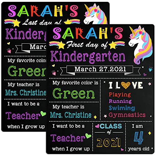 First & Last Day of School Chalkboard, First/Last Day of School Board, 1st Day of School Sign Reusable, 12 x 10 inch Double Sided Back to School Board Photo Prop for Kids, Girls & Boys