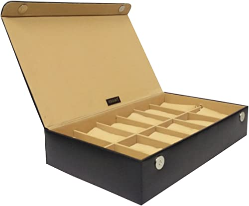 Essart PU Leather Supreme Watch Box for 12watches-Black