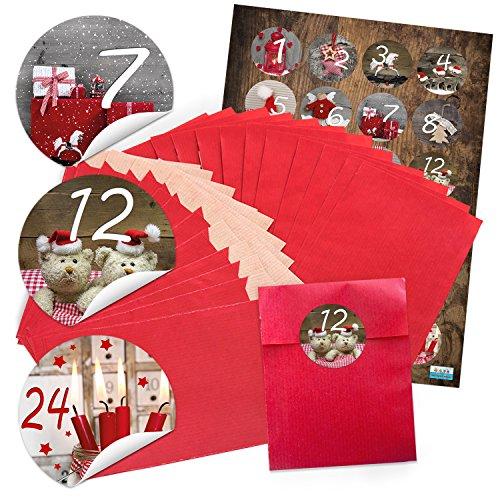24 rote Adventskalender Tüten SET 9,5 x 14 cm + runde FOTOMOTIVE Aufkleber Zahlen Sticker 1 bis 24 zum Befüllen